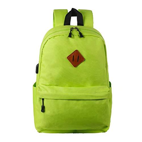 RUYEE Laptop School Backpack, Waterproof School Backpack with USB Charging Port for Men Women, Lightweight Anti-Theft Travel Daypack College Student Rucksack Fits 14-inch Computer/MacBook Green