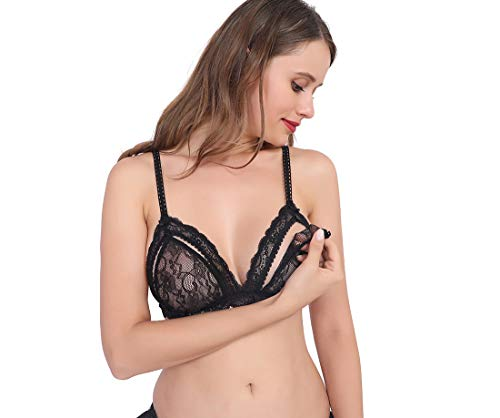 Black Wireless Lace Bras for Women Open Shelf Lingerie Bra Wirefree Triangle Balconette Nursing Bralettes with Open-Up Button (Large)