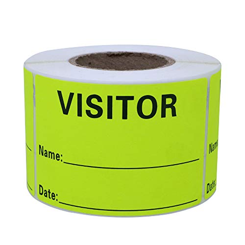 Hybsk Visitor Pass Fluorescent Yellow Visitor Identification Labels Stickers 300 Labels Per Roll (Fluorescent Yellow)