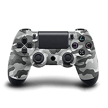 Wireless Bluetooth Controller for Playstation 4 with Dual Vibration Compatible with Windows PC & Android OS-Gray Camouflage