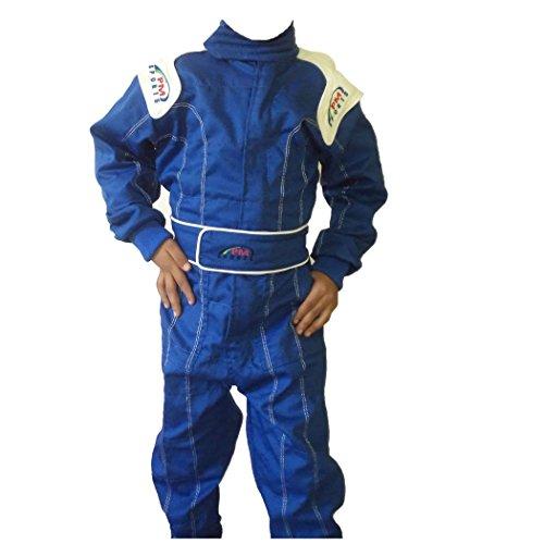 PM Sports Kinder Rennfahreranzug, Overall, Kart, Baumwoll-Mischgewebe, für drinnen und draußen, blau, 150