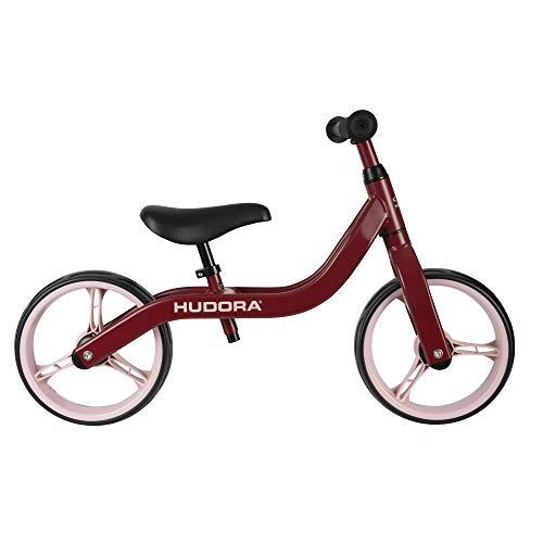 HUDORA Laufrad Ultralight Alu, bordeaux | Superleichtes Kinder Laufrad - nur 2,7 kg | Lauflernrad mit extra breiten 12 Zoll Rädern | Sattel & Lenker höhenverstellbar | Kinderlaufrad ab 2 Jahre