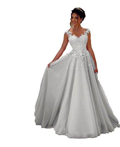 NUOJIA Damen Prinzessin Ballkleider Lange mit Appliques Party kleid Silber 38
