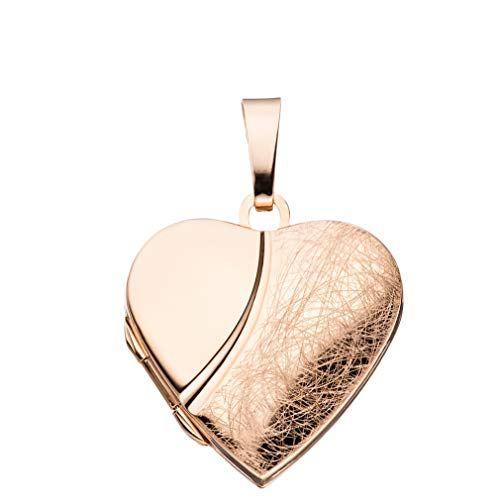 Medaillon Herz EIS-mattiert verziert 925 Sterling Silber rotvergoldet zum Öffnen für Bildereinlage 2 Fotos Amulett von Haus der Herzen® mit Schmuck-Etui