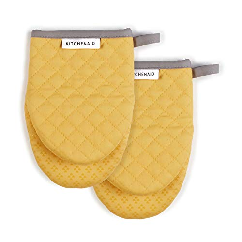 KitchenAid Asteroid Mini Cotton Oven Mitts with Silicone Grip, Set of 2, Buttercup 2 Count