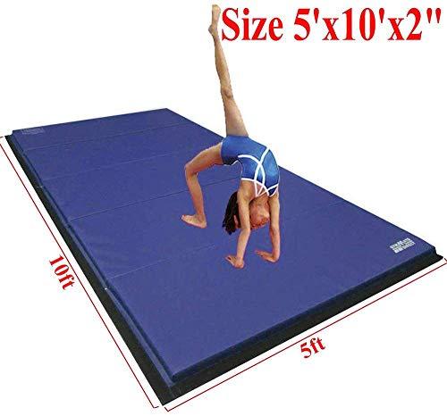 gymmatsdirect 5'x10'x2 Super Large Gymnastics Exercise Tumbling Mat, 5 Panels Folding Gym mats, Blue