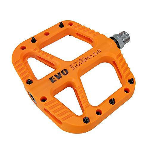 FrontStep Pedali per Bicicletta in Carbonio Ultraleggero Mountain Bike/MTB/Bici da Strada/Bici da Trekking con Perno in Acciaio CR-Mo 1 DU e1 Cuscinetto sigillato Antiscivolo (Arancione)