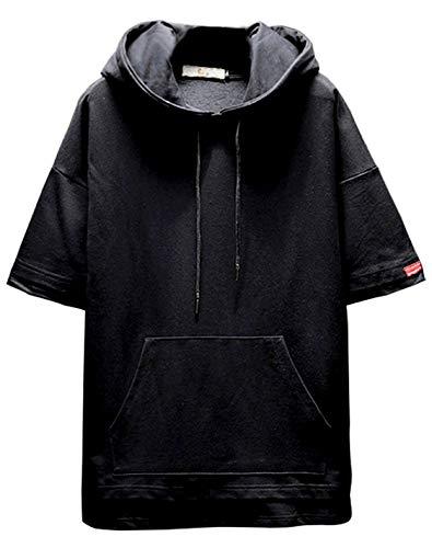 VINMORI ヴィンモリ Tシャツ パーカー メンズ 半袖 無地 スポーツ 夏 七分袖 人気 薄手 カジュアル スウェット ファッション ゆったり ブラック 4XL