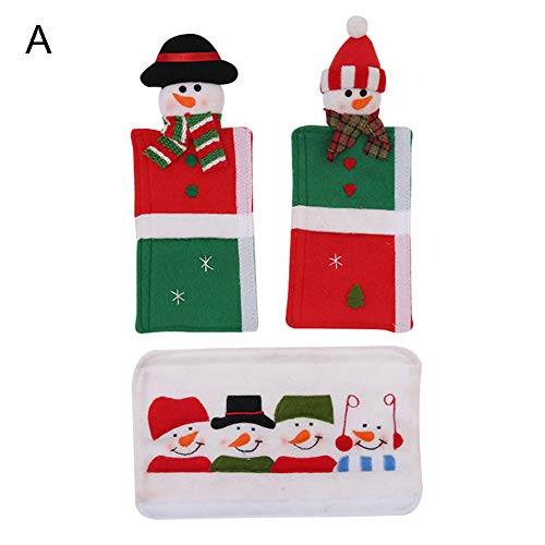 Muzhiili3 Weihnachtsdekoration, 3 Teile/Satz Weihnachtsdekor Mikrowelle Küche Kühlschrank Türgriffabdeckung - A