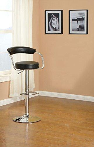 Remarkable Poundex Amalia 2 Black Chrome Faux Leather Wood Bar Stools Multi Spiritservingveterans Wood Chair Design Ideas Spiritservingveteransorg