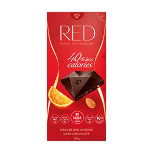 RED delight chocolate oscuro reducido en calorías con sabor a naranja y almendra endulzado con eritritol y stevia 100g