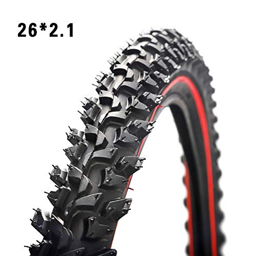 LXRZLS Bicycle Tires 26 2.125 MTB 26 Inch 24 Inch 1.95 Wire Bead Tyres Mountain Bike Tire Large Tread Strong Grip Cross-Country (Color : 26x2.1 red)