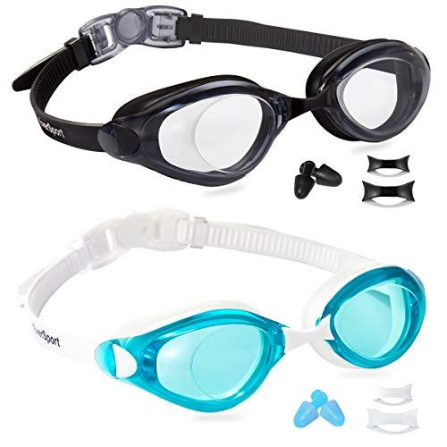 EverSport Swim Goggles, Pack of 2, Swimming Glasses for Adult Men Women Youth Teenager, Anti-Fog, UV Protection, Shatter-Proof, Watertight (Black&LightBlue)