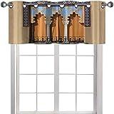 Cenefa de cortina con ventanas antiguas en n estilo en Córdoba, España, fondo de balcones, paisaje urbano de 42 x 18 pulgadas, tratamiento para ventana de salón, color azul marfil