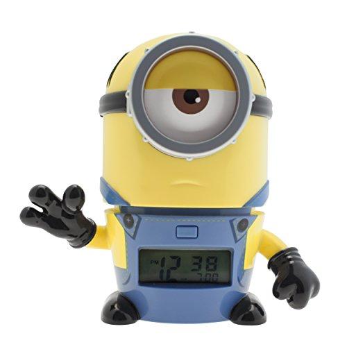 BulbBotz Ich - einfach unverbesserlich 3 2021234 Mel Kinder-Wecker mit Nachtlicht und typischem Geräusch , gelb/blau , Kunststoff , 14 cm hoch , LCD-Display , Junge/ Mädchen , offiziell