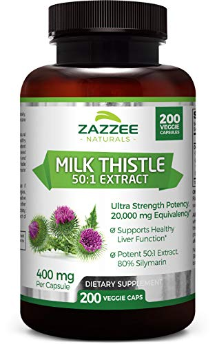 Zazzee Organic Milk Thistle Extract 20,000 mg Strength, 200 Vegan Capsules, Potent 50:1 Extract, 80% Silymarin Flavonoids, Contains Organic Milk Thistle, Over 6 Month Supply, Non-GMO and All-Natural