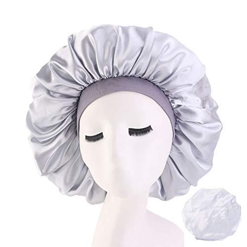WATERMELON Extra Large Print en Satin de Soie Bonnet Sommeil Cap avec Une Prime élastique Bande de Femmes, Nuit de Sommeil Headwrap Perte de Cheveux Couverture Accessoires (Color : Silver)