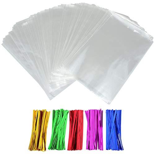 INTVN Bolsas de Celofán, Clear Treat Bags OPP Bolsas de Plástico con 5 Colores Twist Ties para Boda Navidad Fiesta Favor, 100 Piezas, 6 x 9 Pulgadas