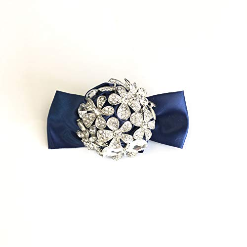 Abbie Home Handmade Luxury Wrist Corsage Boutonniere with Sparkle Rhinestone Brooches Pin Blue Satin Rose Bow Decoration for Wedding Prom Party (Navy Blue Corsage)