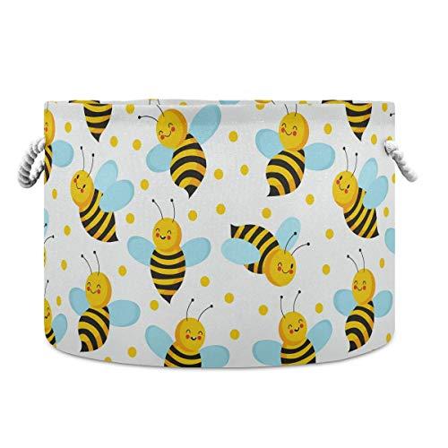 AJINGA Cesta de almacenamiento redonda plegable de tela para juguetes, pequeña y linda cesta de lavandería con cordones para niños