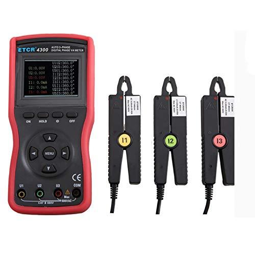 Pyrojewel Un pequeño consejo abrazadera de corriente trifásica medidor digital de tensión-corriente del medidor de voltaje CA actual probador del detector ETCR4300 precisión Instrumento de medición He