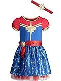 Marvel Captain Girls Short Sleeve Costume Dress & Headband 10/12 Blue