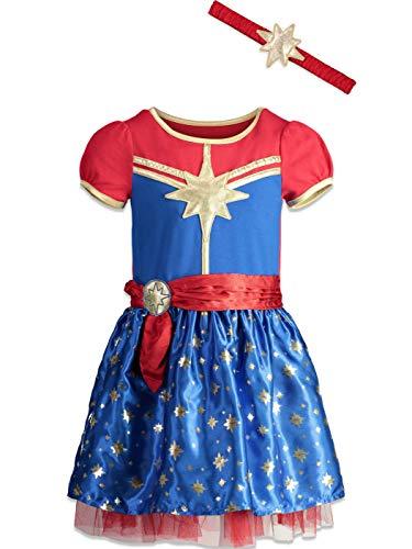 Marvel Captain Girls Short Sleeve Costume Dress & Headband 5/6 Blue