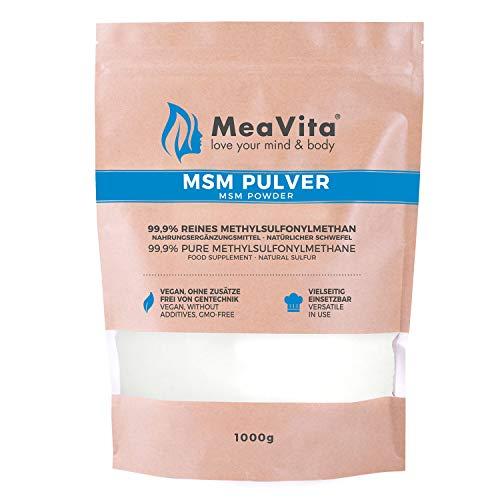 MeaVita MSM Pulver, 99,9% rein, (1x 1000g) Methylsulfonylmethan, organischer Schwefel ohne Zusätze