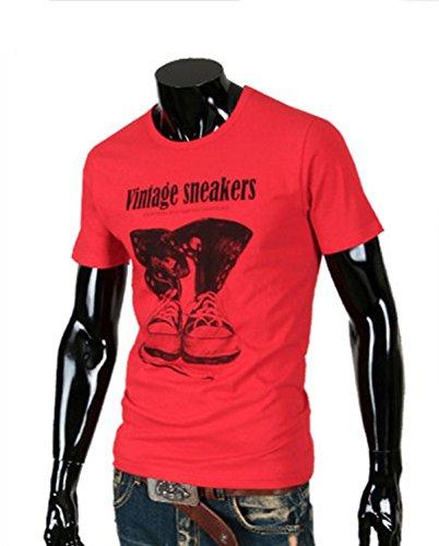Stylish 半袖 Tシャツ メンズ お洒落 ビンテージ スニーカー 絵 柄 シャツ 秋 冬 春 夏 シンプル 綿 素材 インナー 韓国 KF000B08 (Red L Size)