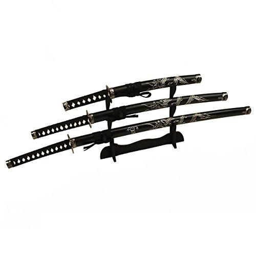 DerShogun Samuraischwert Set mit eingeschnitztem Drache Katana Wakizashi Tanto mit Schwertständer