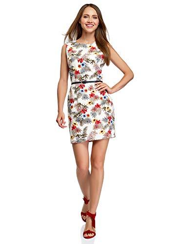 oodji Ultra Damen Tailliertes Ärmelloses Kleid, Elfenbein, DE 38 / EU 40 / M