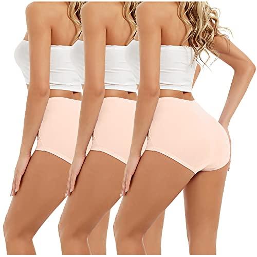 LIUYONG Ropa interior para mujer, cintura alta, control de barriga, calzoncillos elásticos, de algodón completo, bragas, calzoncillos de talla grande, paquete de 3