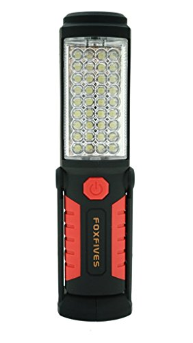 36+5 LED Torch Rechargeable Inspection Lamp Camping Light Hands-Free Garage Workshop Flashlight for Auto,Emergencies with Adjusting Stand, Hanging Hook and Magnet Base (Red)