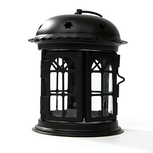 YINZHI Candle Holders Antique Iron Star House Candlestick Romantic Wedding Candle Holder Lantern Retro Home Decoration Sconce(White) (Color : Black)