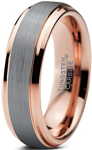 Charming Jewelers Tungsten Wedding Band Ring 6mm Men Women Comfort Fit 18k Rose Gold Grey Step Edge Brushed Polished Size 8