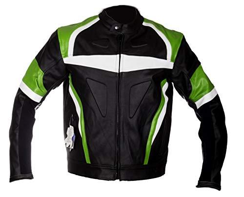 WinNet giacca giubbotto da per moto in pelle con protezioni OMOLOGATE CE ed imbottitura removibile (M)