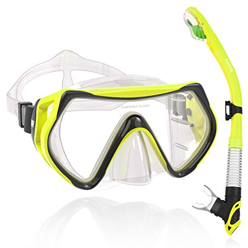 WACOOL Adults Teens Snorkeling Snorkel Diving Scuba Package Set with Anti-Fog Coated Glass Purge Valve and Anti-Splash Silicon Mouth Piece for Men Women (Yellow)