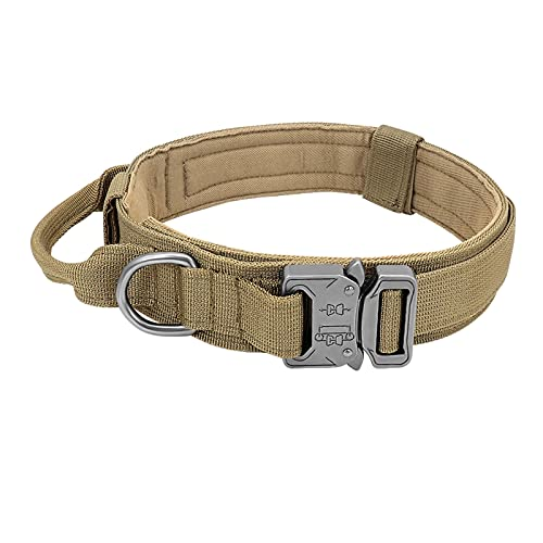 Dog Military Tactical Collar Pet Bungee Leash Durable Nylon Pet Training Collars with Handle Large Dogs French Bulldog (Color : Khaki Collar, Size : Large)