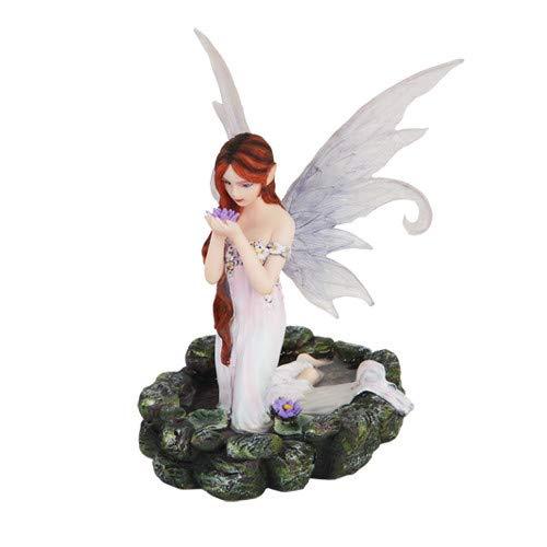 White Water Princess Fairy Kneeling in Pond Mystical Statue Figurine