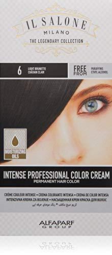 Il Salone Milano Permanent Hair Color Cream - 6 Light Brunette Hair Dye - Professional Salon - Premium Quality - 100% Gray Coverage - Paraffin Free - Ethyl Alcohol Free - Moisturizing Oils