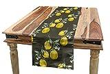 ABAKUHAUS Floral Camino de Mesa, Ramas de limón Crecimiento, Decorativo para el Comedor o Sala de Estar Fácil de Limpiar, 40 x 180 cm, Aceituna Verde Amarillo