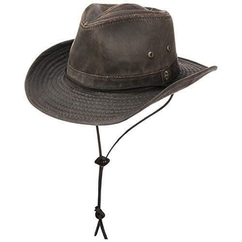 Stetson Chapeau Diaz Outdoor Femme/Homme - de Cowboy en Tissu Look Vintage avec jugulaire, Passepoil, a Franges Printemps-ete - XL (60-61 cm) Marron