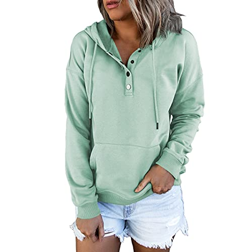 Ezymall Women's Casual Pullover Hoodies Button Down Drawstring Long Sleeve Sweatshirts Tops With Pockets Light Green