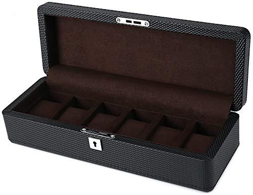 DUNG Holz Speicher Display Uhr Schmuck Lagerung Inhaber Fall 6 Slots Organizer Box Männer oder Frauen (mit Schloss)