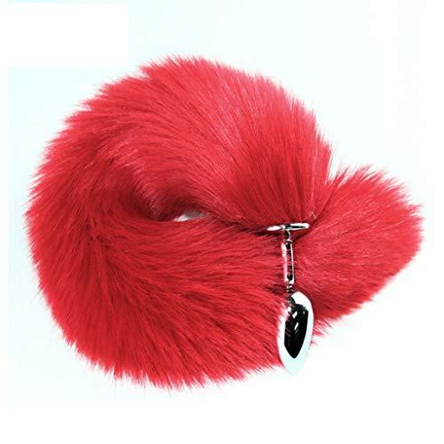 MXD Fuchsschwanz-Plug weich und flexibel for Frauen Bǔtt Plug Metall glatt und bequem Wasserdicht T-Shirt (Color : Red)