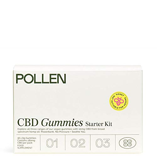 Pollen Starter Kit CBD Gummies 180mg CBD. Includes Powerbank, No Pressure, and Soothe You (18 Gummies x 10mg CBD per Gummy)