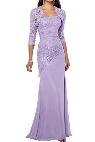 Victory Bridal 2018 Neu Spitze Chiffon Abendkleider Ballkleider Meerjungfrau Brautmutter Kleid Mit Bolero-38 Lilac