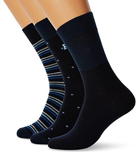 French Connection Herren 3 Pack Waterfall Socken, Mehrfarbig (Skyspot/Mrnstrip/Den), Einheitsgröße (3er Pack)