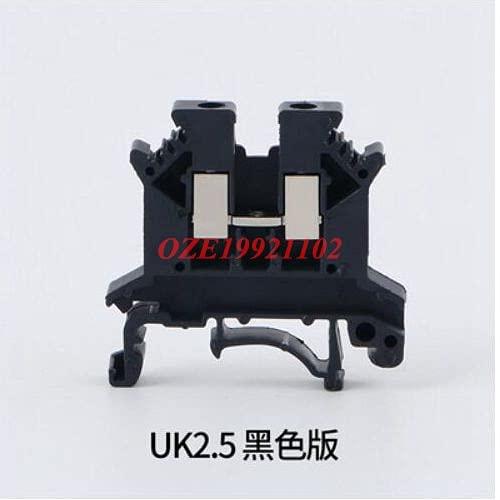 10 Uds UK-2.5B Azul/Gris/Rojo/Negro/Verde/Naranja/Amarillo 2.5mm2 Carril DIN Bloques de terminales de combinación Universal Tipo de Tornillo UK2.5B (Color : Black)