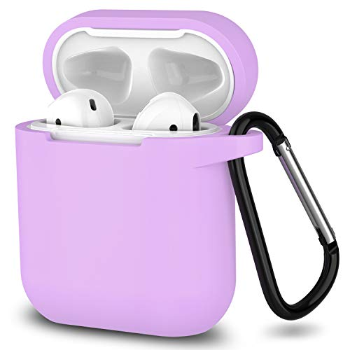 AirPods Case, SATLITOG Protective Silicone Cover Compatible with Apple AirPods 2 and 1(Light Purple)